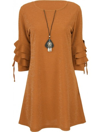 Šaty s volány na rukávech zlatá S/M 0